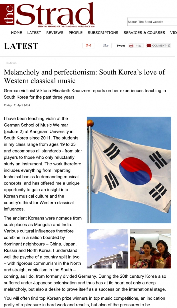 Melancholy and perfectionism: South Korea's love of Western classical music by Professor Viktoria Kaunzner, The Strad, 11 April 2014.