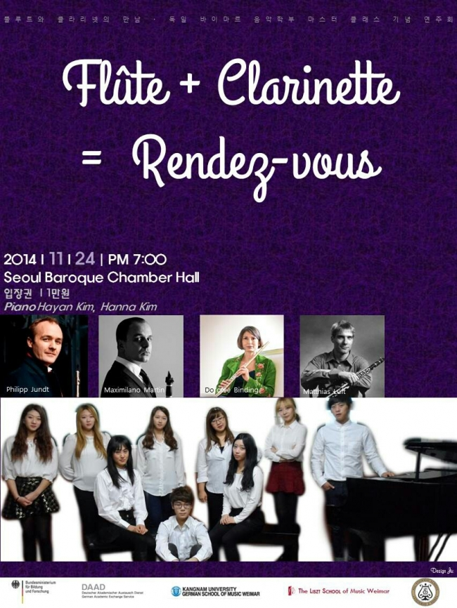 Flûte + Clarinette = Rendez-vous, 24 November 2014, Seoul Baroque Chamber Hall.